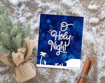 O Holy Night! Hand Lettered Watercolor Print / Christmas / O Holy Night Sign / Illustrated Faith / Home Decor / Etsy Fresh / Christmas