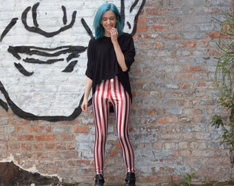 Red and White striped leggings