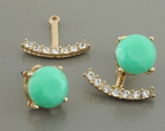 Ear Jackets - Mint Green Earrings - Gold Earrings - Crystal Pave Ear Jacrkets - Stud Earrings - Bridal Earrings - Tending Earrings