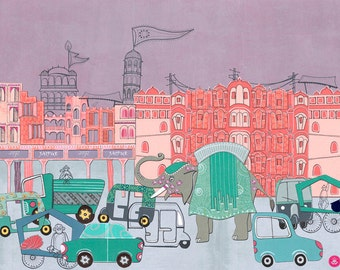 Jaipur, Rajasthan - Postcards From India - 11 by 14 Illustration Paper Collage Art Print (Signed)