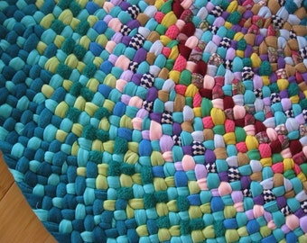 Made To Order Custom Colorful Handmade Hand Braided Round Rug / Rag Rug / Carpet for your nursery / bath / entry in your color choices