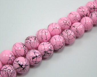 Set of 20 N 10 mm pale pink drawbench glass beads