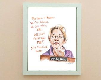 Senator Elizabeth Warren Portrait, inspiring women, inspiring quote, she persisted