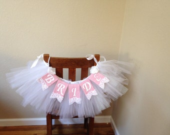 Bridal Veil Chair Garland with Pink Burlap with white Lace Banner Package,  Shabby Chic, Bridal Shower Decor, Wedding, Banner Garland