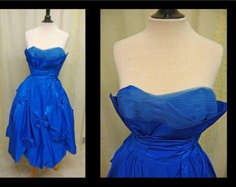 Vintage 1950s Dress - Beautiful Cerulean Blue Sharkskin Taffeta Strapless 50s Cupcake Party Prom Dress with Shelf Bust and Full Skirt