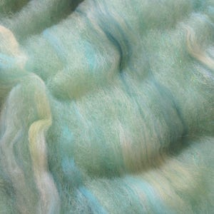 2.3oz. Alpaca Handcrafted Carded Batt - Hand Dyed Alpaca - Emerald Green - Blended w/Hand Dyed Merino Top - Greens & Turquoise w/Firestar