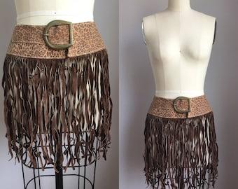 Vintage Authentic 1970s Boho Hippie Leopard Print Suede Fringe Belt Size Small Medium