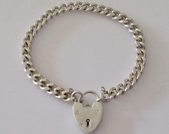 Sterling Silver Blank Charm Bracelet and Padlock