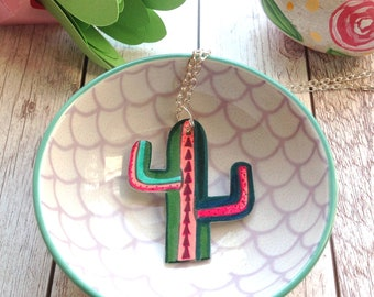 Cactus Necklace, Succulent Jewellery, Birthday Gift For Her, Southwestern, Boho, Nature Lover, Teacher Gift, Wife Anniversary, Plant Jewelry