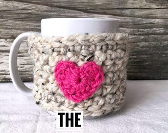 Heart Cozy, Crochet Coffee Cozy, Heart Mug Cozy, Heart Cup Cozy, Coffee Cup Warmer, Coffee Cup Sleeve, coffee lover gift,