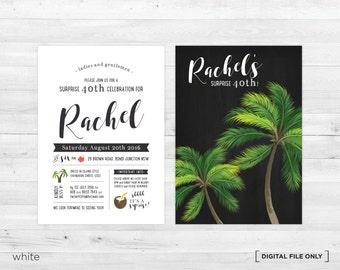 Printable Tropical birthday party invitations   - birthday invitation cards - birthday invitations - birthday party invites - Island theme