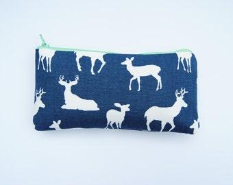 Deer makeup bag, deer pencil pouch, mint and navy bag, zipper pouch, makeup brush bag, preppy makeup bag, elk bag, small coin purse