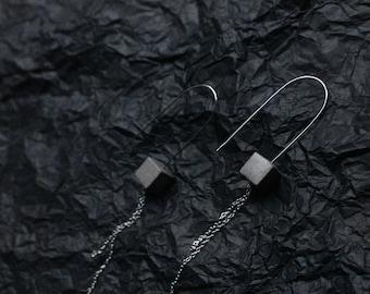 Concrete Geometric Double Chain Minimal Earrings