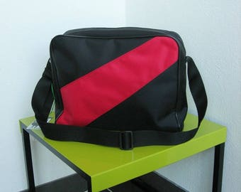 messenger bag satchel document, reporter, waterproof, black and Red nylon bag