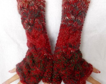 Christmas Gift for Her Chunky Fingerless Mittens Cabled Warm Arm Warmers Gloves Extra Warm Red Grey Brown Green