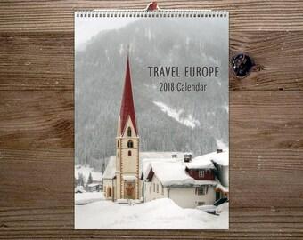 2018 Calendar, Wanderlust , Wall Calendar, Travel Europe, Photography, A4 calendar