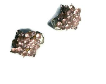 Pink Muted Crystal Cluster Clip On Earrings SNK Silver Tone