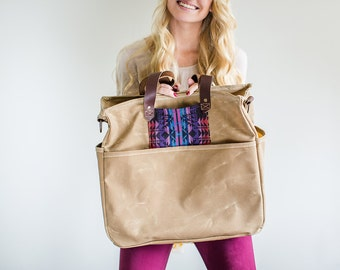 Waxed Canvas Diaper Bag Aztec Pink Wheat Tan