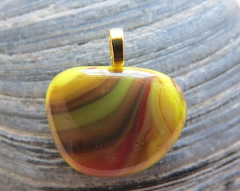 0106 - Abstract Yellow Fused Glass Pendant