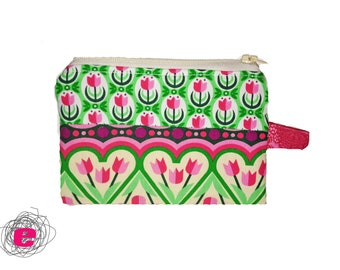 Zipper pouch  pink tulips