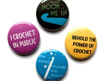 Crochet Pins, Hook Me Up, 1 inch pin back, Set of 4