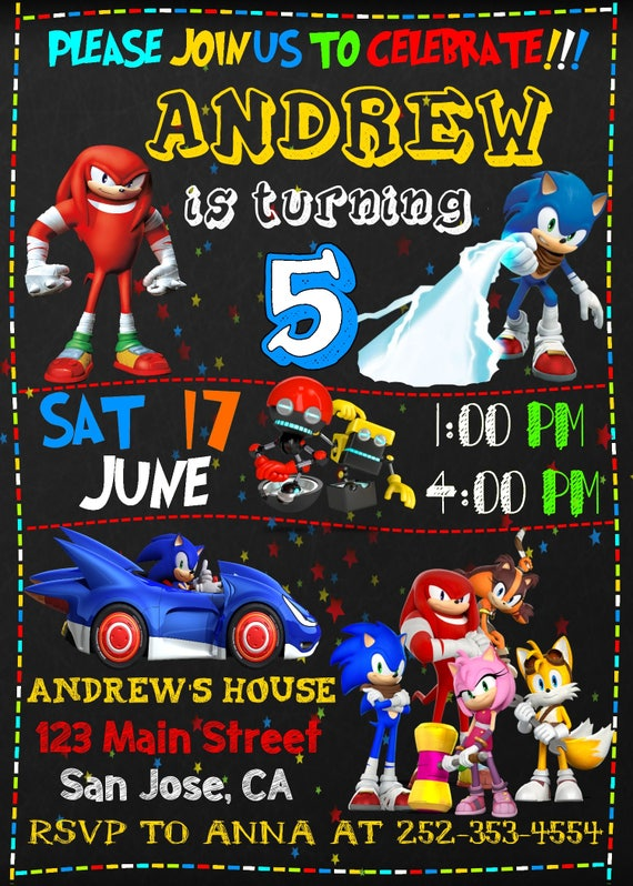 Sonic Invite Sonic Birthday Sonic Invitation Sonic Party
