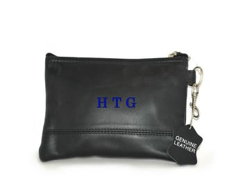 Monogram Leather Accessory Pouch