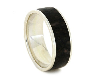 Custom Wedding Band With Dinosaur Bone, Sterling Silver Ring With Bone Inlays, Fossil Ring For Men, Men's Wedding Band