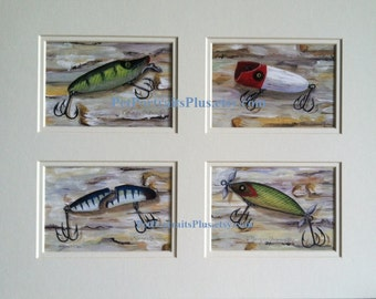 Fishing Lure Prints Matted and signed