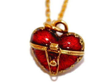 Wonderful Tiny Very Detailed 3D Red Enamel Heart Locket