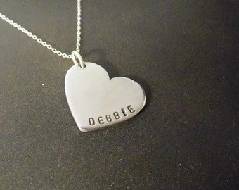 Sterling Silver love heart pendant with name on the bottom
