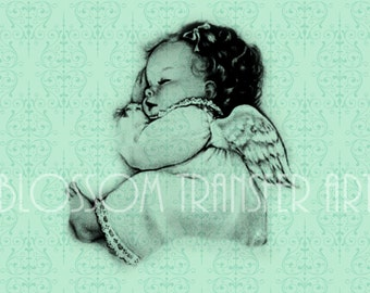 Baby  - Angel - INSTANT DOWNLOAD Images - Digital Vintage Graphics - Iron on fabric - Download for papercrafts - Printables - DIY -  2377