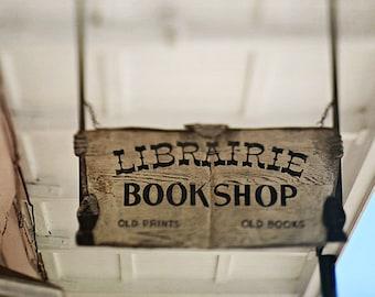 "French Quarter Book Sign, ""Librairie Bookshop"", New Orleans Wall Art.  Photo Print. Home Decor"