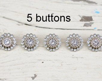 Clear Sunburst Rhinestone Buttons - Set of 5 Limited Edition 21mm Acrylic Rhinestone Buttons - Plastic Buttons - Clear Buttons - Starburst