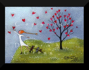 Intervention     a tiny  Valenitnes Day Love Friends cat doxie Hearts Print by Deborah Gregg