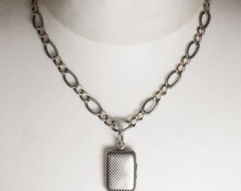Antique Victorian Rectangular Niello Silver Locket, c1900