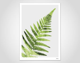 Fern/poster, art print, pictures, art prints, Deco, Scandinavian, paper, postcards, cards, pastel, marble, plants, nature, leaves