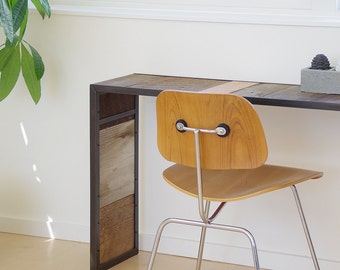 Reclaimed Wood Desk With Metal Frame   Modern Industrial Urban Wood And  Steel   Console,