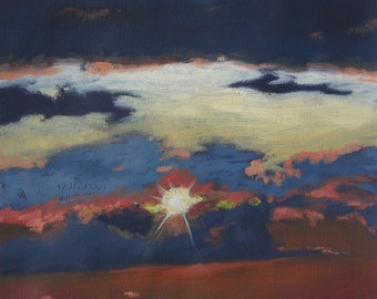 Flying Skies Original Oil Painting on Paper