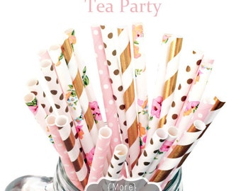 STRAWS Flower, Light Pink, Gold, Paper Straws, Party Supplies, Tea Party, Garden Party, Birthday, Baby Shower, Bridal, Wedding, Baby