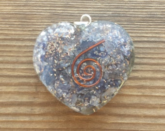 ORGONE BLUE AVENTURINE Gemstone Heart Shaped Pendant Orgone (One)