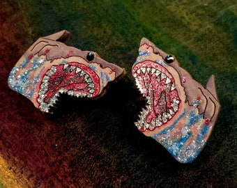 Leather Shark Earrings - Hand Painted with Rhinestones