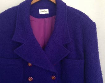 1980s double breasted purple wool jacket by NEIMAN MARCUS, size 10 - Made in USA