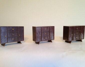 Set of 3 Dollhouse Vintage 1960's Walnut-Tone MCM Dresser Battery Holders for Electric Power