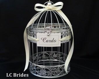Bird Cage Wedding Card Holder, Wedding Wishing Well, Shower Card Holder, Well Wishes Box, Birdcage, Baby Shower, Bridal Shower, Silver