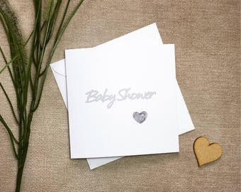Baby shower card, grey baby shower card, gender neutral card, card for new baby