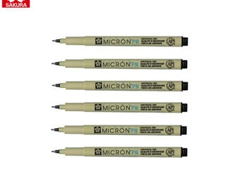 Sakura Pigma Micron PN | Black Archival Ink | Journaling Illustration Arts Craft  | Pack of 6 Pens