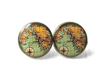 Antique World Map Earrings, Hippie Hipster World Globe Jewelry, World Map Jewelry Travel Wanderlust Bohemian Jewelry, Gypsy Bohemian Earring