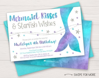 Mermaid Birthday Invitation | Under the Sea Birthday Party Invitations | Purple, Aqua, & Silver Watercolor | Personalized and Printable