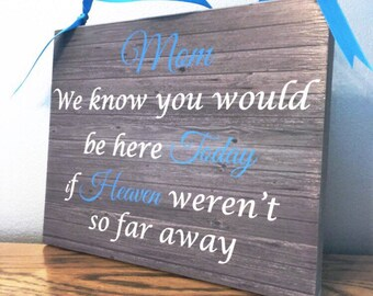 Memory Sign, Mom, We know you would be here today if heaven wasn't so far away Memory Table Sign, Wedding Decor, Loved One Sign, In Memory